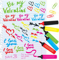 Set of different colors signes for Valentine`s Da Stock Photography