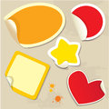 Set of different colors stickers with twisted corners oval round square star and heart Stock Photo