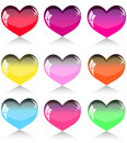 Set of different colour hearts Royalty Free Stock Photo