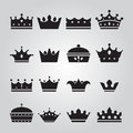 Set of different Crowns Icons Royalty Free Stock Photo