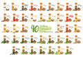 Set of 40 different culinary herbs, species and condiments in cartoon style. Spanish names. Vector Illustration
