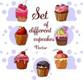 Set of different cupcakes icons