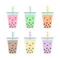 Set of different cups with bubble tea. Royalty Free Stock Photo