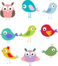 Set of different cute bird cartoon Royalty Free Stock Photo