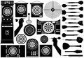 Set different dartboards isolated white Stock Photos