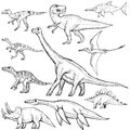 Set of different dinosaurs hand drawn sketch illustration Royalty Free Stock Photo