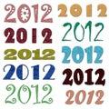 Set of different felt 2012 symbols Royalty Free Stock Photos