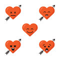 Set of different flat cute emoji heart faces with arrow isolated on the white background. Happy emoticons faces