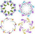 Set of different floral bouquets, floral frames vector clip art,colorful and bright floral wreath