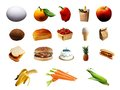 Set of different food items