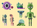 Set of different funny cartoon monsters cute alien characters and creature happy illustration devil colorful animal