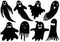 Set of different ghosts isolated on white Royalty Free Stock Images