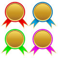 Set of different golden medals vector illustration Royalty Free Stock Image