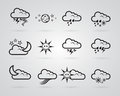 Set of different grey weather icons Royalty Free Stock Photo