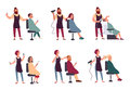 Set of different hairdresser. Trendy man and woman in barbershop, hairdressing salon. Services: makes styling, dries