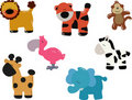 Set of different hand drawed jungle animals Royalty Free Stock Image