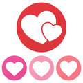 Set of different heart icon on a circles. Vector illustration