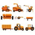 Set with different heavy machinery used in agriculture industry. Farm vehicle. Tractor, trailer, crawler, combine Royalty Free Stock Photo