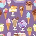 Set of different ice cream seamless pattern background cartoon dessert vector illustration