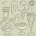Set of different ice cream vector illustration Stock Photo
