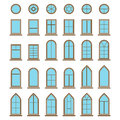 Set of different icons window and windowpane types Royalty Free Stock Photo