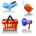 Set of different items which use in selling illustration goods there aresupermarket basket credit cards loudspeaker and label Stock Photos