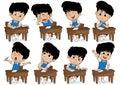 Set of different kid learning pose.Boy crying,laughing,sad,sleepy,thinking,boring,asking.