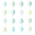 Set of different kinds of trees geometric icons