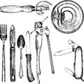 Set of different kitchen utensil Royalty Free Stock Photo