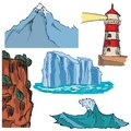 Set of different landscapes sketch illustrations the Stock Image