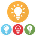 Set of different lightbulb icon on a circles. Vector illustration