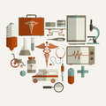 Set of different Medical elements. Royalty Free Stock Photo