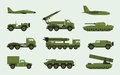 Set of different military transport. Modern equipment collection fighting machine, air defense, car, truck, tank