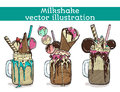 Set of different milkshakes. Chocolate, strawberry, vanilla and candy milkshakes. Vector cartoon illustration