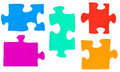 Set of different multicolored puzzle pieces Royalty Free Stock Photo
