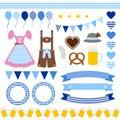 Set Of Different Oktoberfest Icons Diamond Pattern