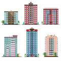 Set of different panel residential houses. collection of colorful vector flat illustration.