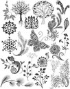 Set different patterns and decorations. Graphic drawings Sketches. Plants, nature, birds, trees, butterfly, flowers,