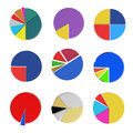 Set of different pie chart d on isolated background Royalty Free Stock Photography