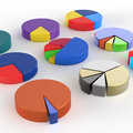 Set of different pie chart d on isolated background Stock Photo