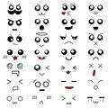 Set of 28 different pieces of doddle emotions to create characters. Emotion for design handmade. Anime style. Anger and joy.