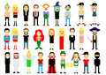 Set of different pixel art characters  on white. Vector illustration. People icons. Halloween. Magic Royalty Free Stock Photo