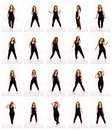 stock image of  Set from different poses of a dancing woman, a collection of photos