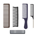 A set of different professional combs. Hairbrushes for hair  on white background. Royalty Free Stock Photo