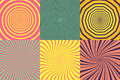 Set of different psychedelic spiral, vortex, twirl. Vector colorful backgrounds collection. Royalty Free Stock Photo