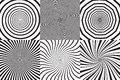 Set of different psychedelic spiral, vortex, twirl. Vector monochrome backgrounds collection. Royalty Free Stock Photo