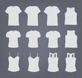 Set of different realistic white female and male t-shirt. Front and back view. Shirt sleeveless, short-sleeve, singlet Royalty Free Stock Photo