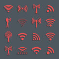 Set of different red vector wifi icons for communication and rem remote access illustration Royalty Free Stock Image