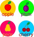 Set of different ripe fruits apple, pear, plum and cherry Royalty Free Stock Photo
