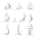 Set of different sailing ships icon simple vector boat in line style Stock Images